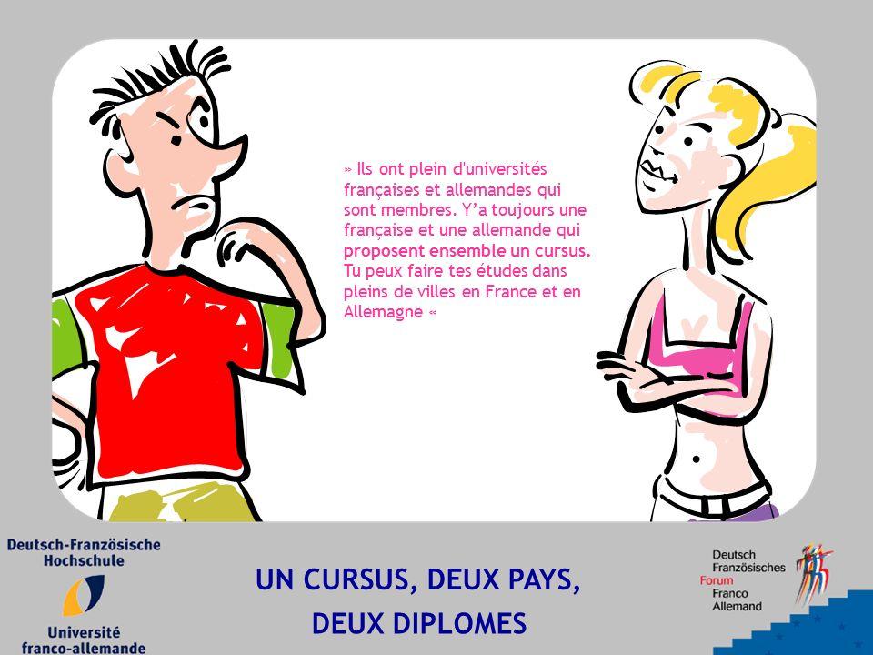 UN CURSUS, DEUX PAYS, DEUX DIPLOMES » Ils ont plein d'universités françaises et allemandes qui sont membres. Y'a toujours une française et une alleman