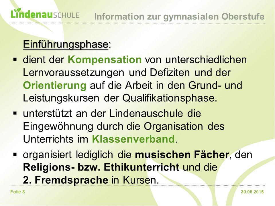 30.05.2016Folie 9 Information zur gymnasialen Oberstufe 2.
