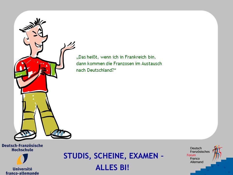 """""""Das heißt, wenn ich in Frankreich bin, dann kommen die Franzosen im Austausch nach Deutschland? STUDIS, SCHEINE, EXAMEN – ALLES BI!"""