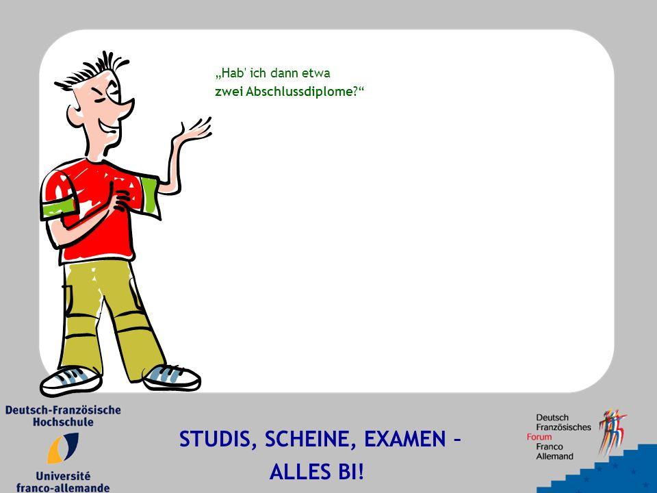 """""""Hab ich dann etwa zwei Abschlussdiplome? STUDIS, SCHEINE, EXAMEN – ALLES BI!"""