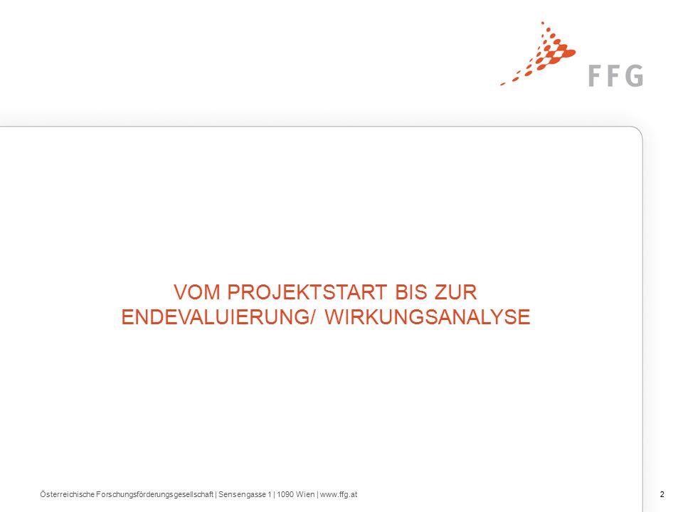 Österreichische Forschungsförderungsgesellschaft | Sensengasse 1 | 1090 Wien | www.ffg.at2 VOM PROJEKTSTART BIS ZUR ENDEVALUIERUNG/ WIRKUNGSANALYSE