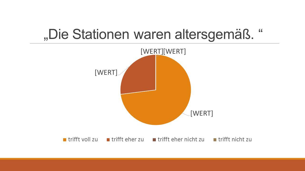 """""""Die Stationen waren altersgemäß."""