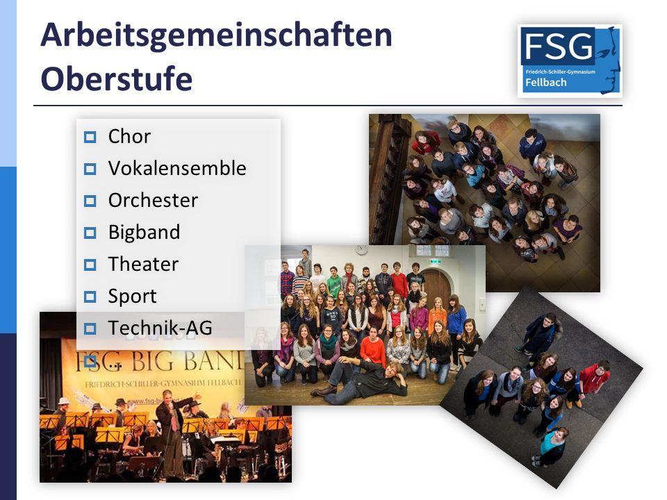 Arbeitsgemeinschaften Oberstufe  Chor  Vokalensemble  Orchester  Bigband  Theater  Sport  Technik-AG  …  Chor  Vokalensemble  Orchester  Bigband  Theater  Sport  Technik-AG ……