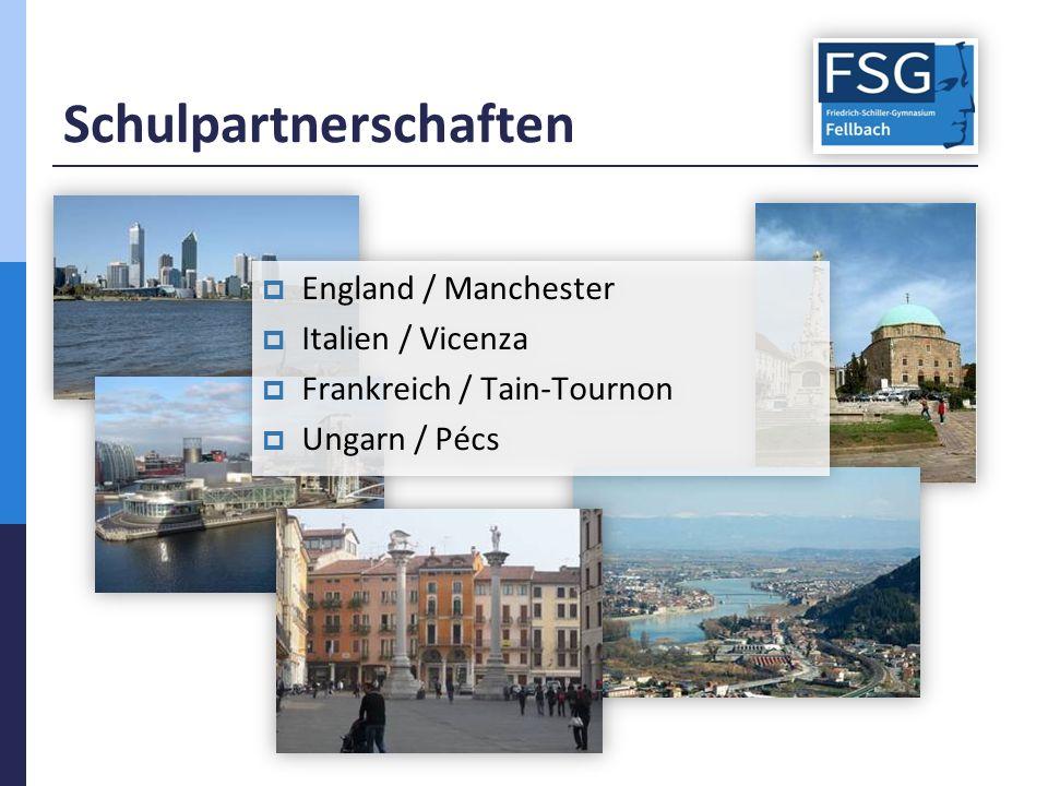 Schulpartnerschaften  England / Manchester  Italien / Vicenza  Frankreich / Tain-Tournon  Ungarn / Pécs  England / Manchester  Italien / Vicenza  Frankreich / Tain-Tournon  Ungarn / Pécs
