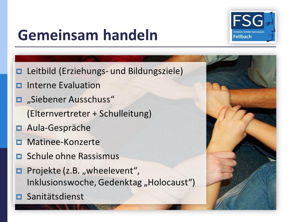 """Gemeinsam handeln  Leitbild (Erziehungs- und Bildungsziele)  Interne Evaluation  """"Siebener Ausschuss"""" (Elternvertreter + Schulleitung)  Aula-Gespr"""