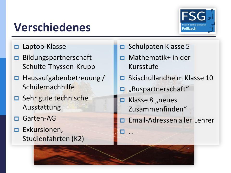 Verschiedenes  Laptop-Klasse  Bildungspartnerschaft Schulte-Thyssen-Krupp  Hausaufgabenbetreuung / Schülernachhilfe  Sehr gute technische Ausstatt
