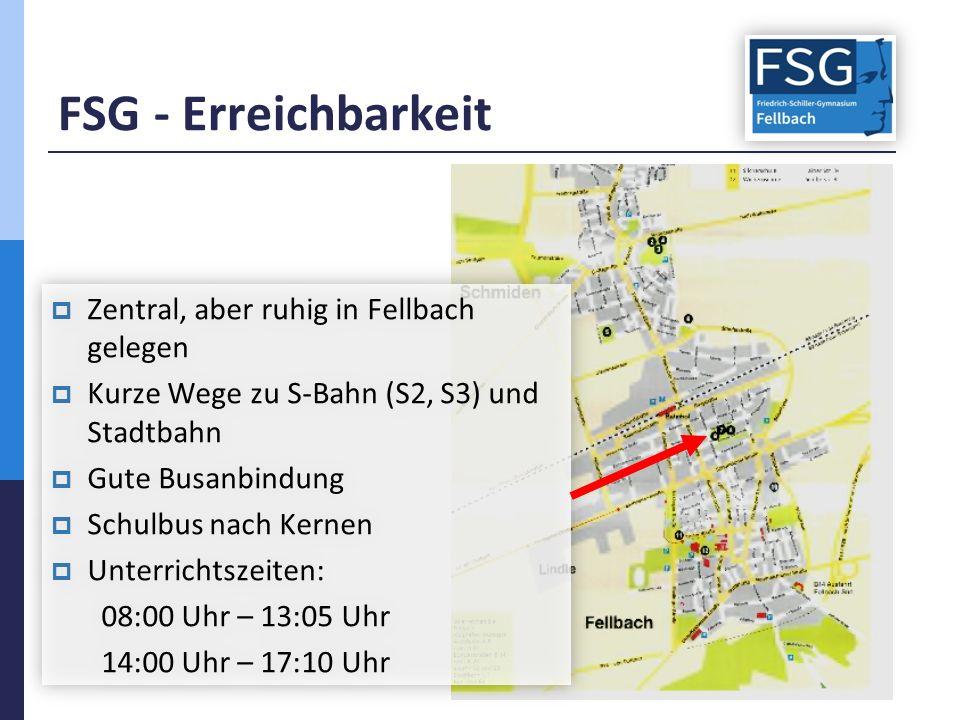 FSG - Erreichbarkeit  Zentral, aber ruhig in Fellbach gelegen  Kurze Wege zu S-Bahn (S2, S3) und Stadtbahn  Gute Busanbindung  Schulbus nach Kernen  Unterrichtszeiten: 08:00 Uhr – 13:05 Uhr 14:00 Uhr – 17:10 Uhr  Zentral, aber ruhig in Fellbach gelegen  Kurze Wege zu S-Bahn (S2, S3) und Stadtbahn  Gute Busanbindung  Schulbus nach Kernen  Unterrichtszeiten: 08:00 Uhr – 13:05 Uhr 14:00 Uhr – 17:10 Uhr