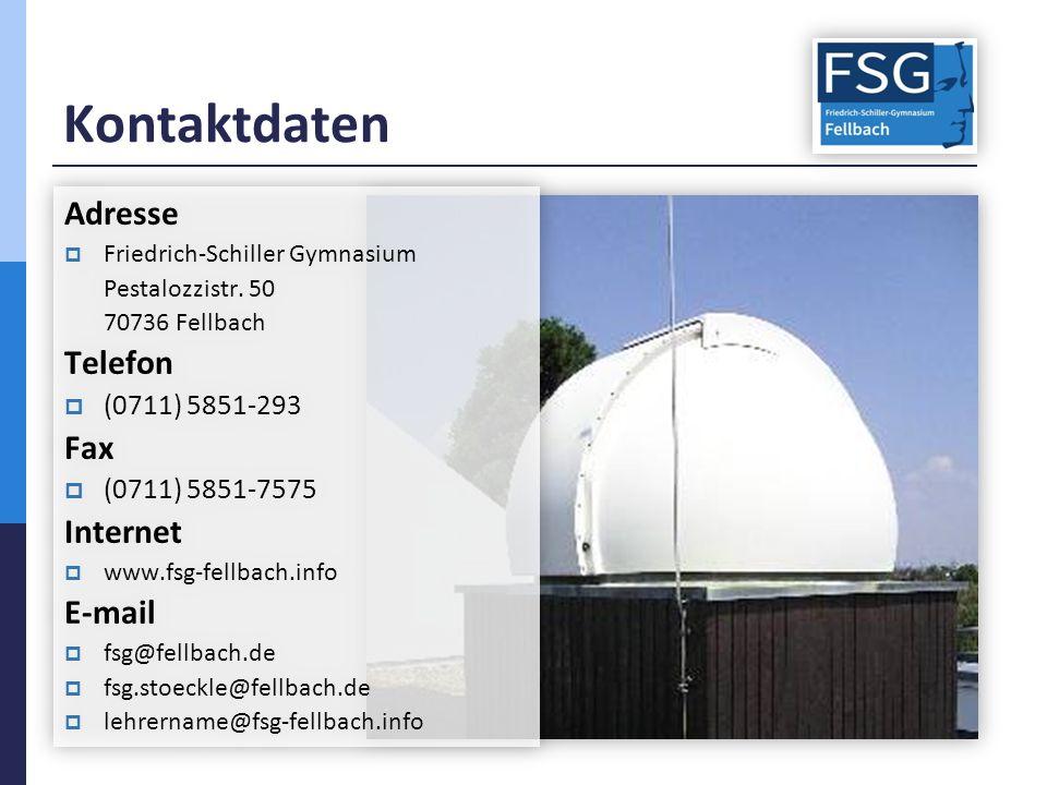 Kontaktdaten Adresse  Friedrich-Schiller Gymnasium Pestalozzistr.