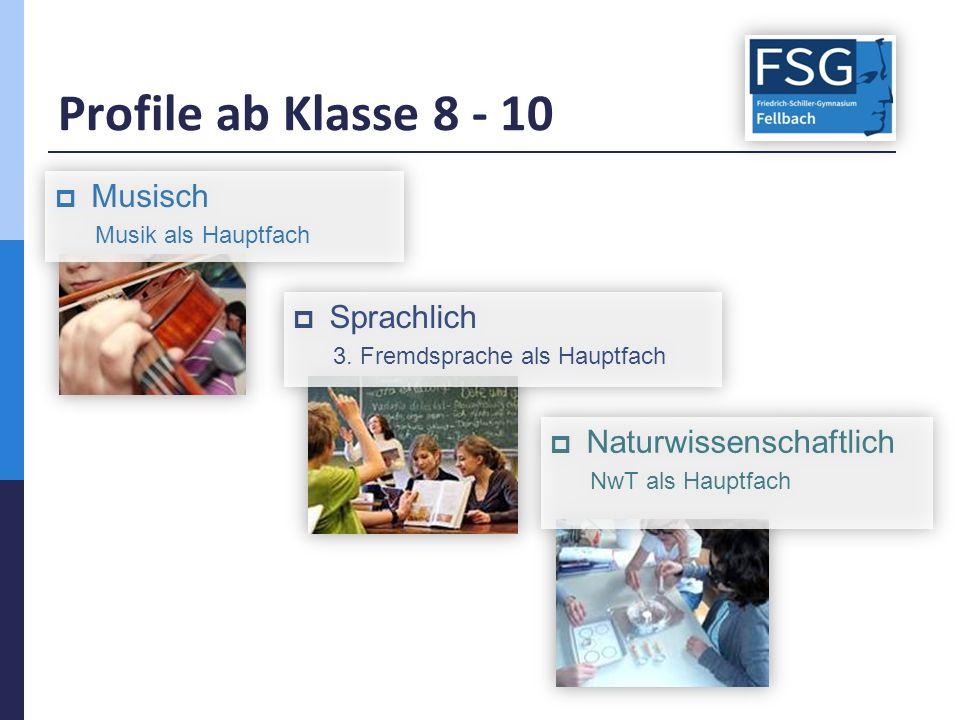 Profile ab Klasse 8 - 10  Sprachlich 3. Fremdsprache als Hauptfach  Sprachlich 3.