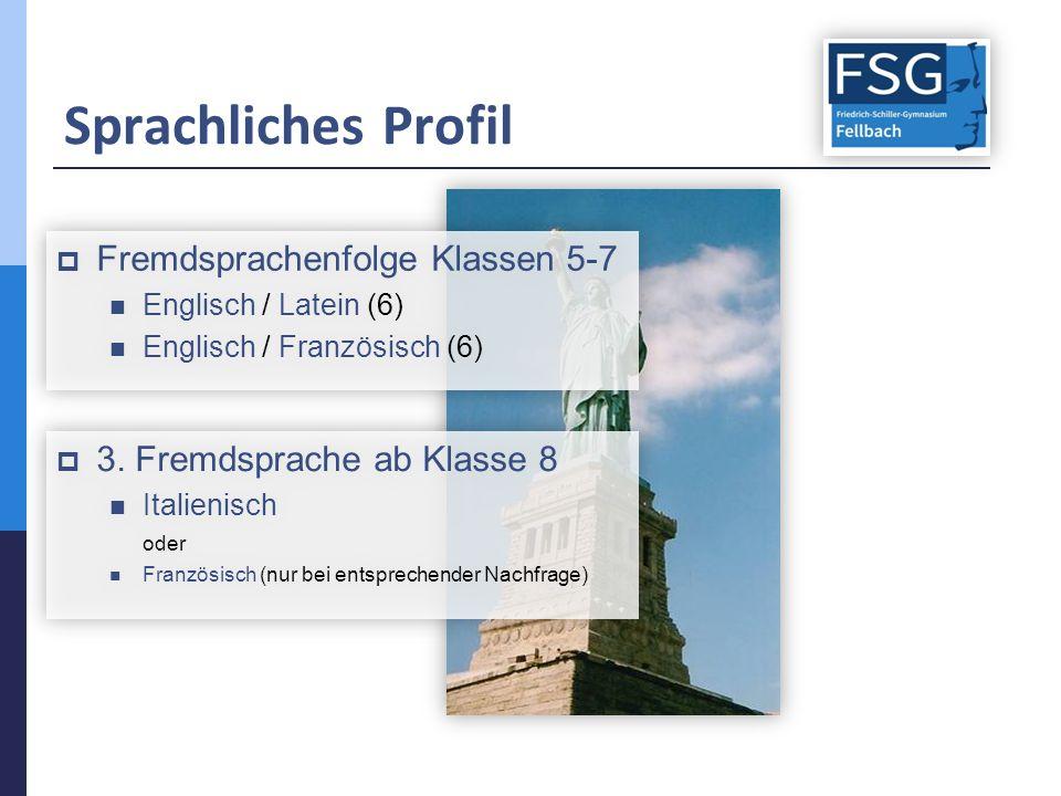 Sprachliches Profil  Fremdsprachenfolge Klassen 5-7 Englisch / Latein (6) Englisch / Französisch (6)  Fremdsprachenfolge Klassen 5-7 Englisch / Latein (6) Englisch / Französisch (6)  3.
