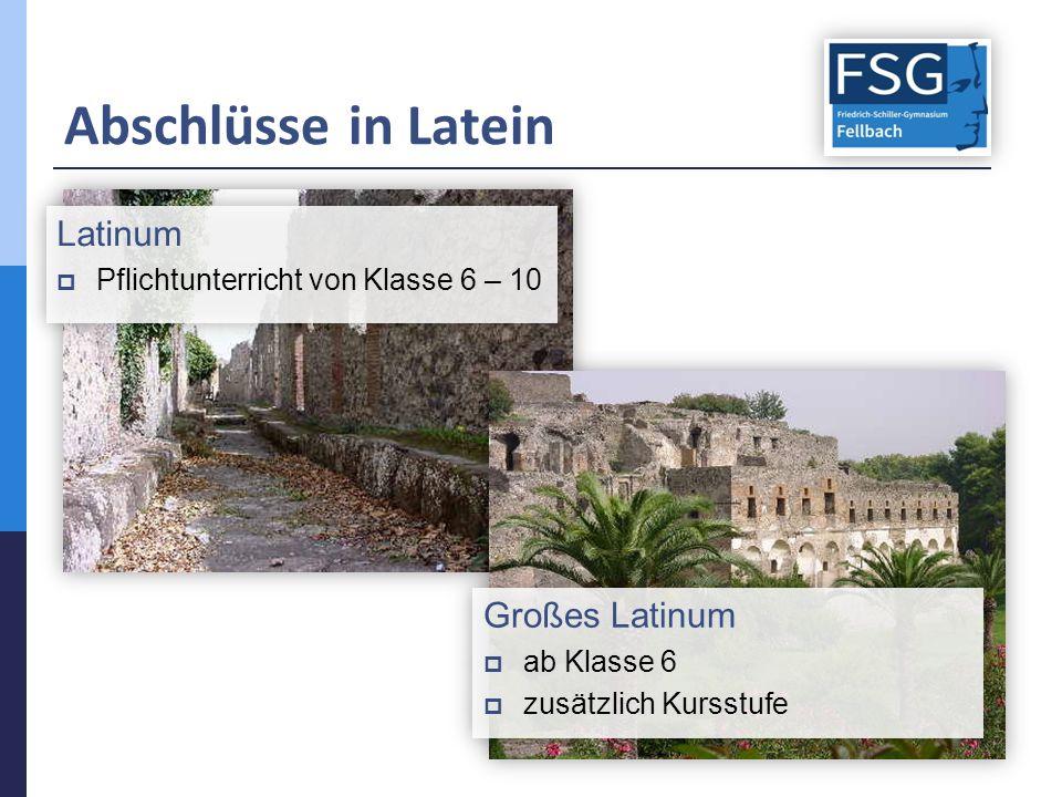 Abschlüsse in Latein Latinum  Pflichtunterricht von Klasse 6 – 10 Latinum  Pflichtunterricht von Klasse 6 – 10 Großes Latinum  ab Klasse 6  zusätz