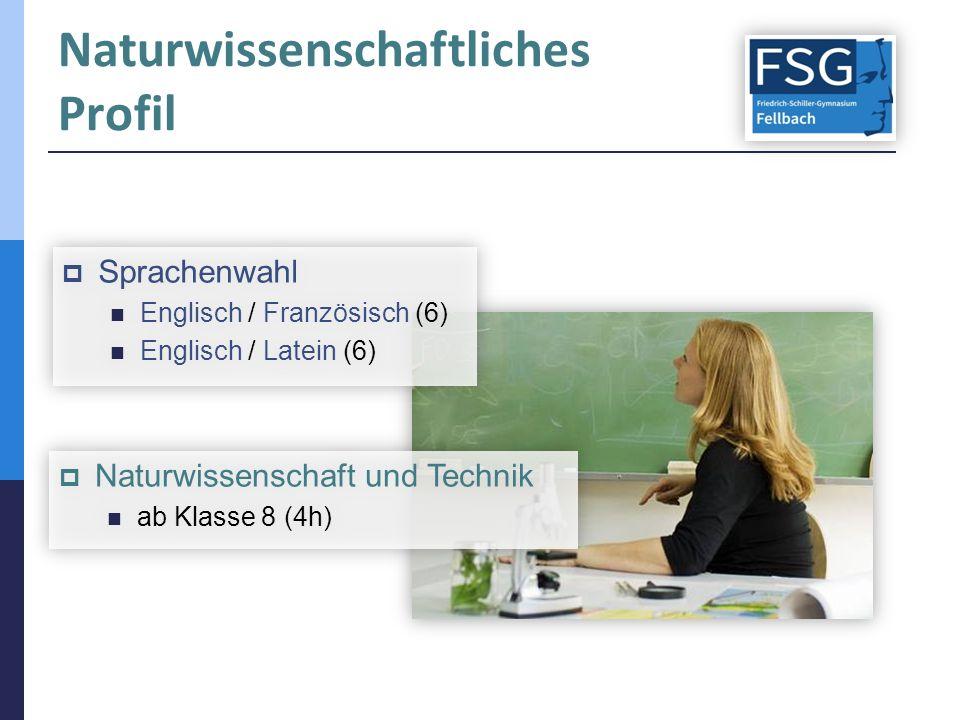 Naturwissenschaftliches Profil  Sprachenwahl Englisch / Französisch (6) Englisch / Latein (6)  Sprachenwahl Englisch / Französisch (6) Englisch / La
