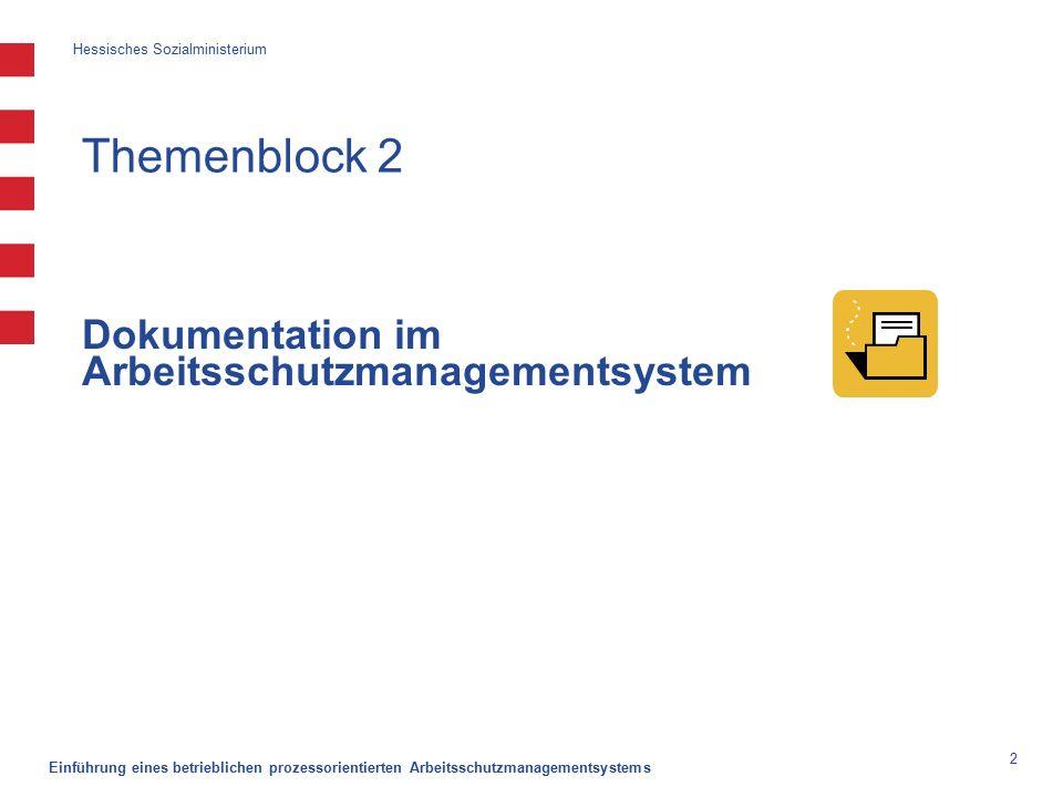 Hessisches Sozialministerium Einführung eines betrieblichen prozessorientierten Arbeitsschutzmanagementsystems 2 Themenblock 2 Dokumentation im Arbeitsschutzmanagementsystem