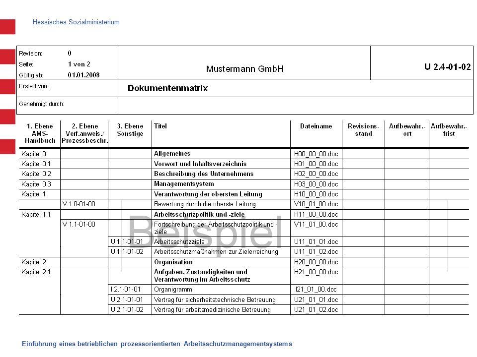 Hessisches Sozialministerium Einführung eines betrieblichen prozessorientierten Arbeitsschutzmanagementsystems