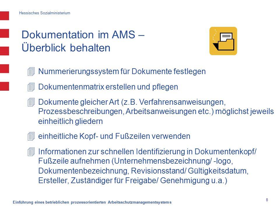 Hessisches Sozialministerium Einführung eines betrieblichen prozessorientierten Arbeitsschutzmanagementsystems 8 Dokumentation im AMS – Überblick behalten  Nummerierungssystem für Dokumente festlegen  Dokumentenmatrix erstellen und pflegen  Dokumente gleicher Art (z.B.