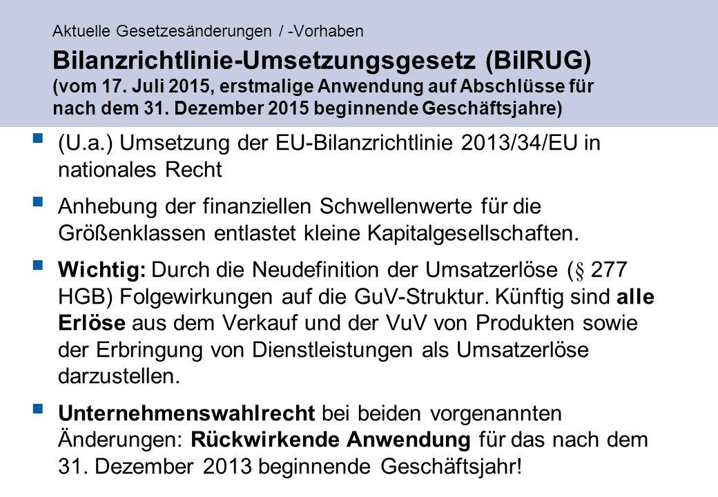 Aktuelle Gesetzesänderungen / -Vorhaben Bilanzrichtlinie-Umsetzungsgesetz (BilRUG) (vom 17.