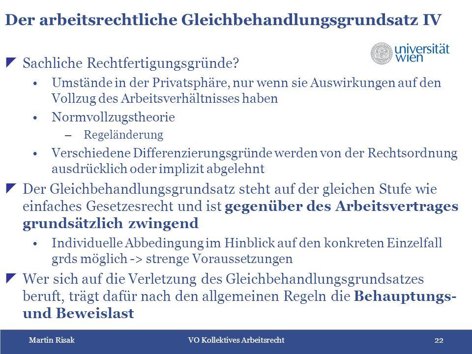 Martin RisakVO Kollektives Arbeitsrecht22  Sachliche Rechtfertigungsgründe.