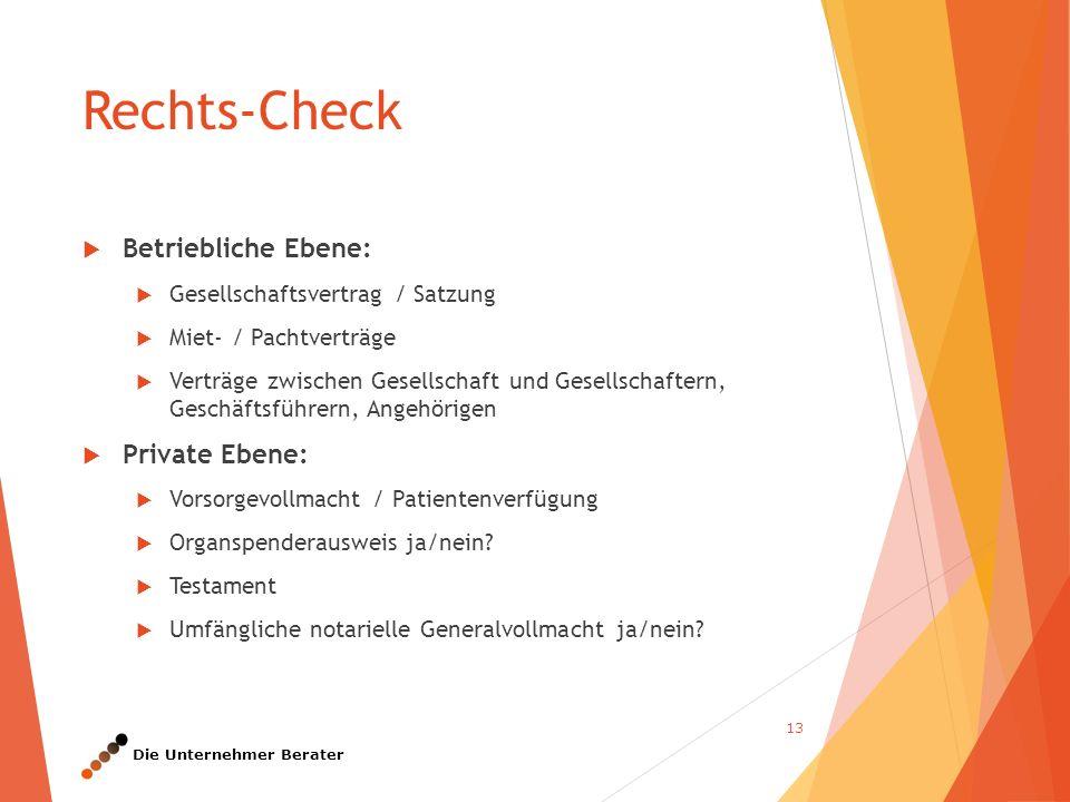 Die Unternehmer Berater  Betriebliche Ebene:  Gesellschaftsvertrag / Satzung  Miet- / Pachtverträge  Verträge zwischen Gesellschaft und Gesellscha