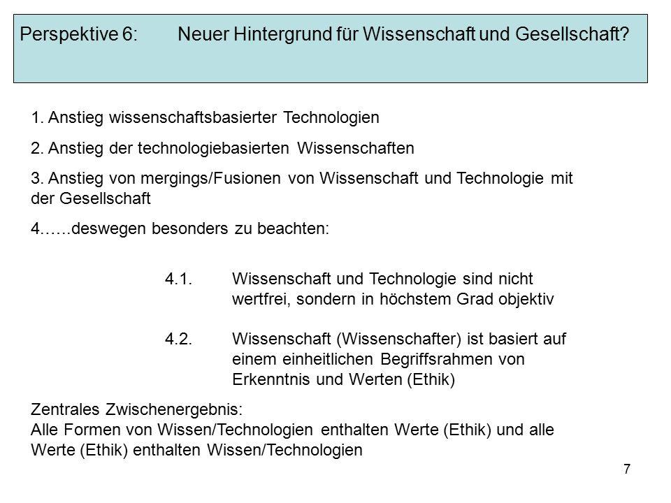 7 Perspektive 6:Neuer Hintergrund für Wissenschaft und Gesellschaft.