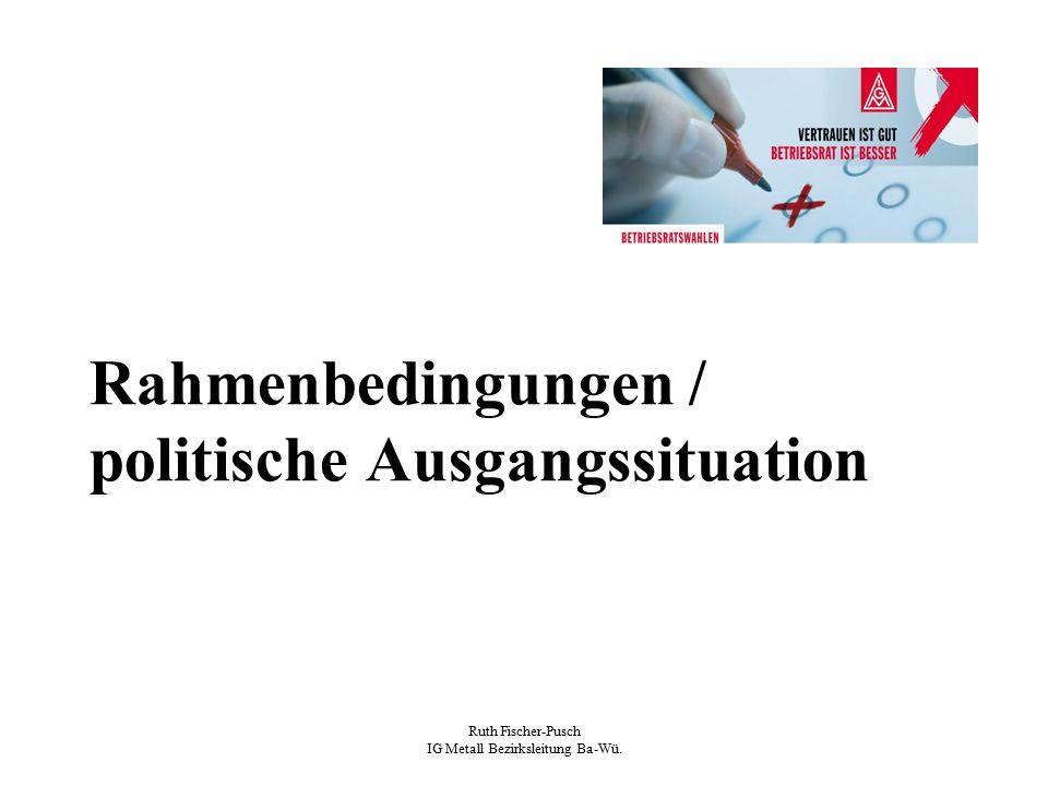 Ruth Fischer-Pusch IG Metall Bezirksleitung Ba-Wü. Rahmenbedingungen / politische Ausgangssituation