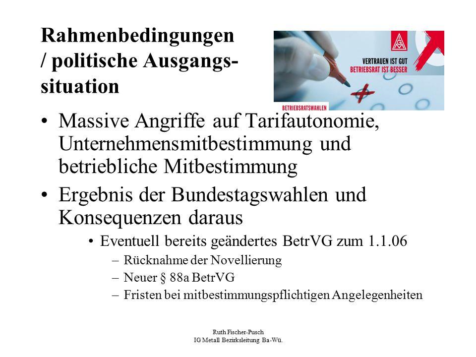 Ruth Fischer-Pusch IG Metall Bezirksleitung Ba-Wü. Rahmenbedingungen / politische Ausgangs- situation Massive Angriffe auf Tarifautonomie, Unternehmen