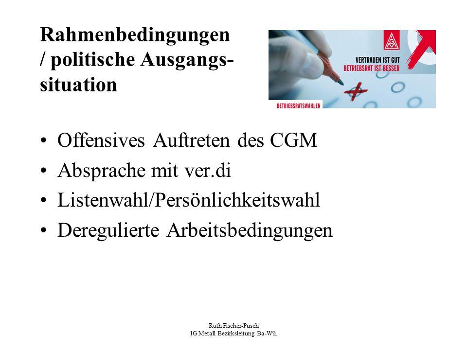 Ruth Fischer-Pusch IG Metall Bezirksleitung Ba-Wü. Rahmenbedingungen / politische Ausgangs- situation Offensives Auftreten des CGM Absprache mit ver.d