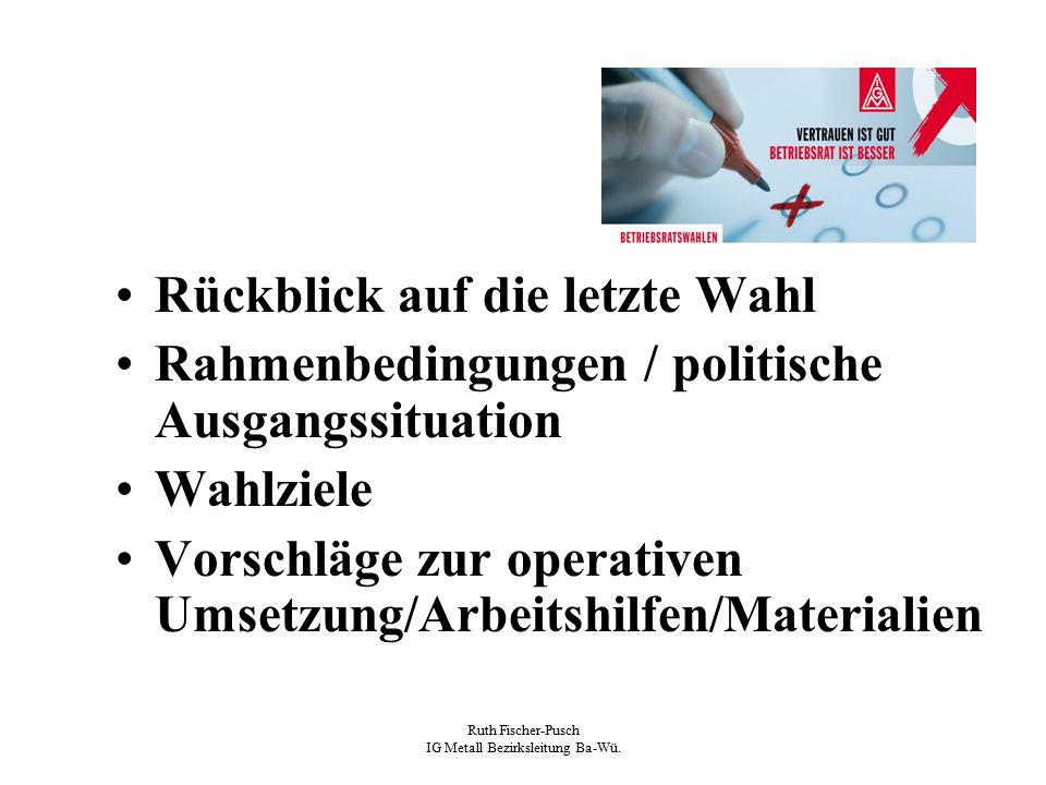 Ruth Fischer-Pusch IG Metall Bezirksleitung Ba-Wü. Rückblick auf die letzte Wahl Rahmenbedingungen / politische Ausgangssituation Wahlziele Vorschläge
