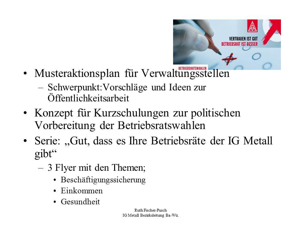 Ruth Fischer-Pusch IG Metall Bezirksleitung Ba-Wü. Musteraktionsplan für Verwaltungsstellen –Schwerpunkt:Vorschläge und Ideen zur Öffentlichkeitsarbei