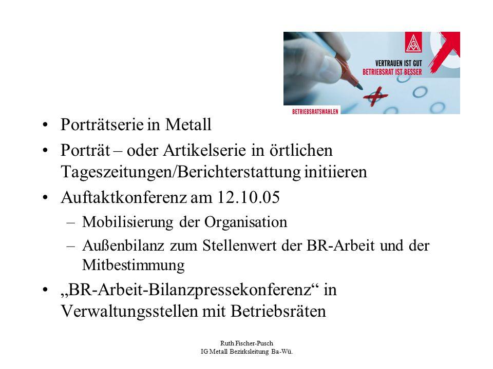 Ruth Fischer-Pusch IG Metall Bezirksleitung Ba-Wü. Porträtserie in Metall Porträt – oder Artikelserie in örtlichen Tageszeitungen/Berichterstattung in