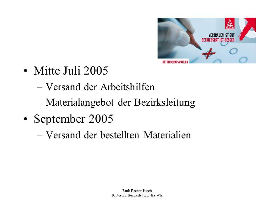 Ruth Fischer-Pusch IG Metall Bezirksleitung Ba-Wü. Mitte Juli 2005 –Versand der Arbeitshilfen –Materialangebot der Bezirksleitung September 2005 –Vers