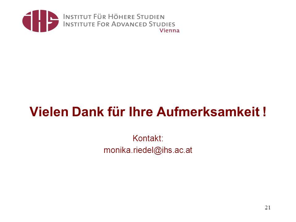 Vielen Dank für Ihre Aufmerksamkeit ! Kontakt: monika.riedel@ihs.ac.at 21