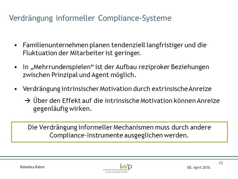 Rebekka Rehm 08. April 2016 13 Verdrängung informeller Compliance-Systeme Familienunternehmen planen tendenziell langfristiger und die Fluktuation der
