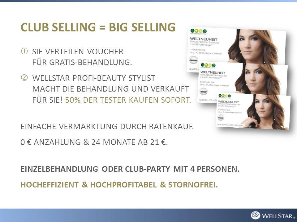 CLUB SELLING = BIG SELLING  SIE VERTEILEN VOUCHER FÜR GRATIS-BEHANDLUNG.