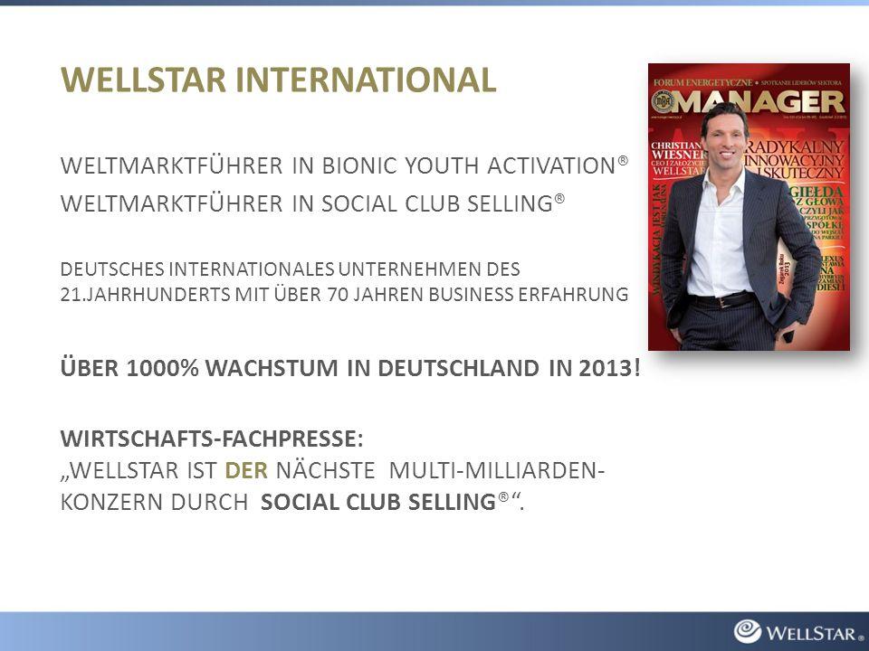 WELLSTAR INTERNATIONAL WELTMARKTFÜHRER IN BIONIC YOUTH ACTIVATION® WELTMARKTFÜHRER IN SOCIAL CLUB SELLING® DEUTSCHES INTERNATIONALES UNTERNEHMEN DES 21.JAHRHUNDERTS MIT ÜBER 70 JAHREN BUSINESS ERFAHRUNG ÜBER 1000% WACHSTUM IN DEUTSCHLAND IN 2013.