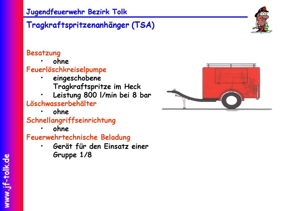 Jugendfeuerwehr Bezirk Tolk www.jf-tolk.de Tragkraftspritzenanhänger (TSA) Besatzung ohne Feuerlöschkreiselpumpe eingeschobene Tragkraftspritze im Heck Leistung 800 l/min bei 8 bar Löschwasserbehälter ohne Schnellangriffseinrichtung ohne Feuerwehrtechnische Beladung Gerät für den Einsatz einer Gruppe 1/8