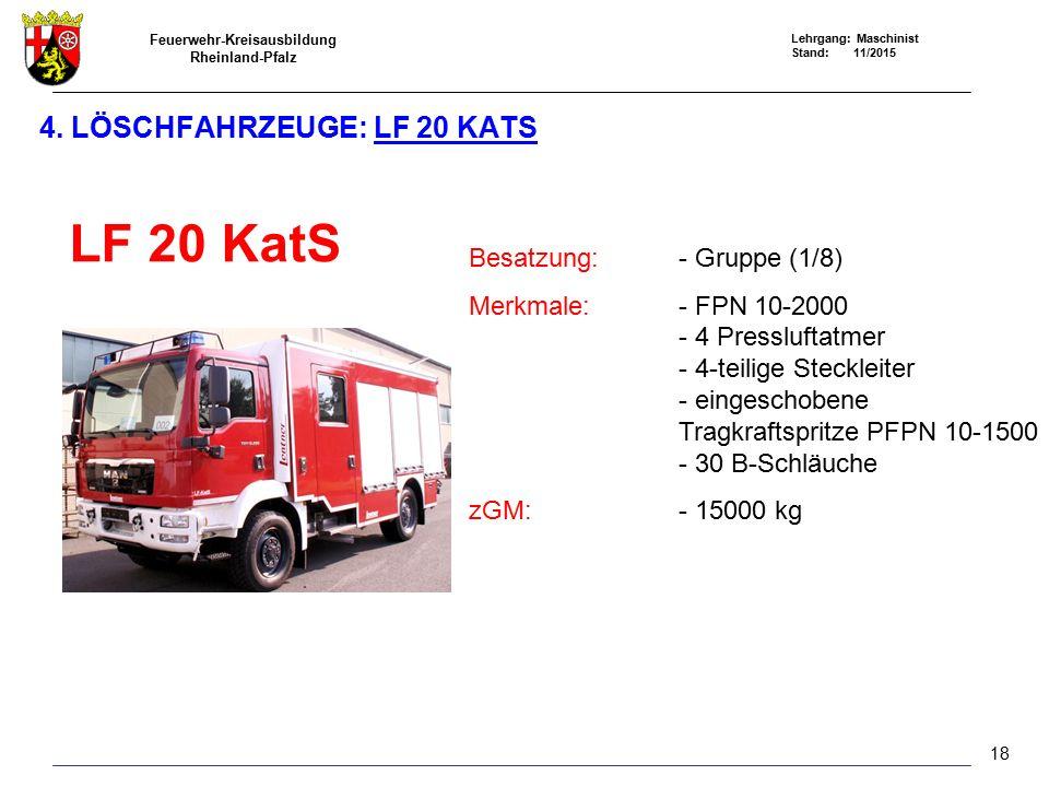 Feuerwehr-Kreisausbildung Rheinland-Pfalz Lehrgang: Maschinist Stand: 11/2015 18 4. LÖSCHFAHRZEUGE: LF 20 KATS LF 20 KatS Besatzung:- Gruppe (1/8) Mer