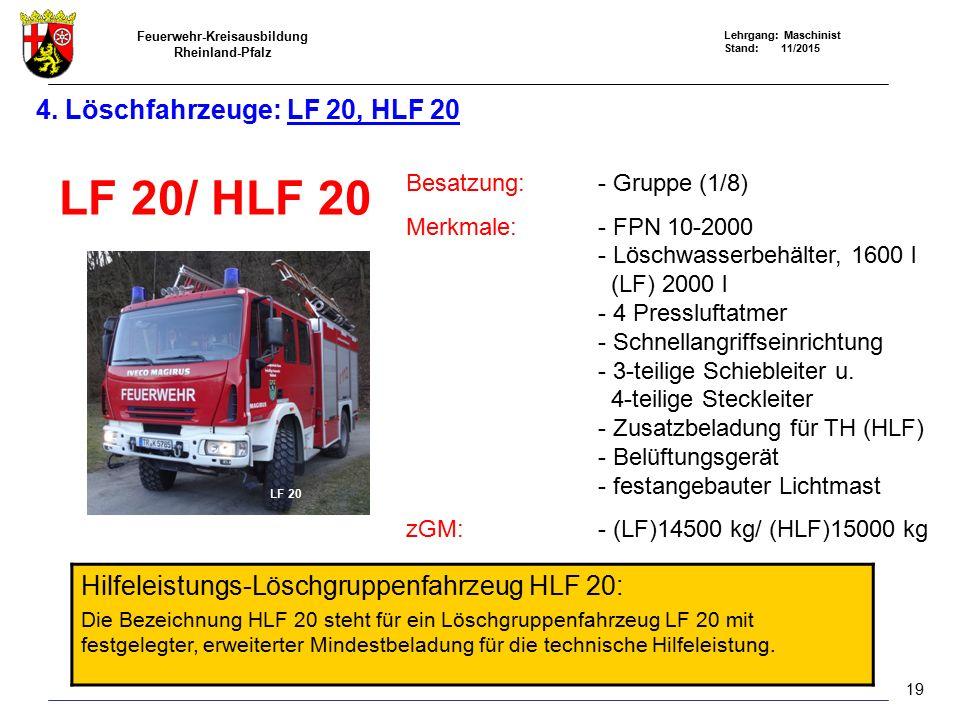 Feuerwehr-Kreisausbildung Rheinland-Pfalz Lehrgang: Maschinist Stand: 11/2015 4. Löschfahrzeuge: LF 20, HLF 20 LF 20/ HLF 20 Besatzung:- Gruppe (1/8)
