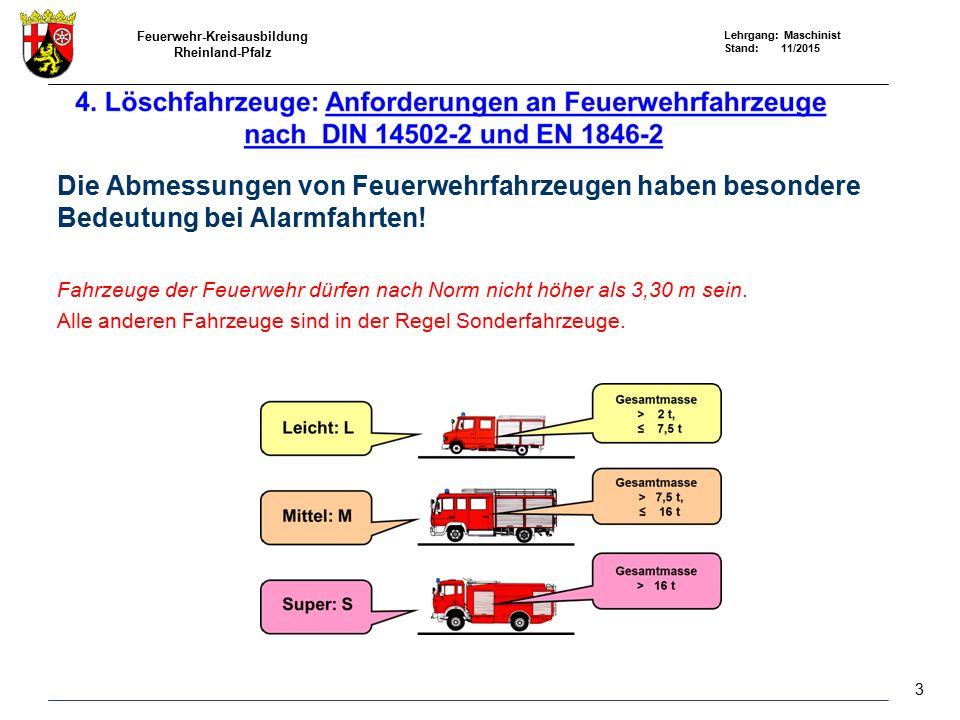 Feuerwehr-Kreisausbildung Rheinland-Pfalz Lehrgang: Maschinist Stand: 11/2015 Die Abmessungen von Feuerwehrfahrzeugen haben besondere Bedeutung bei Al