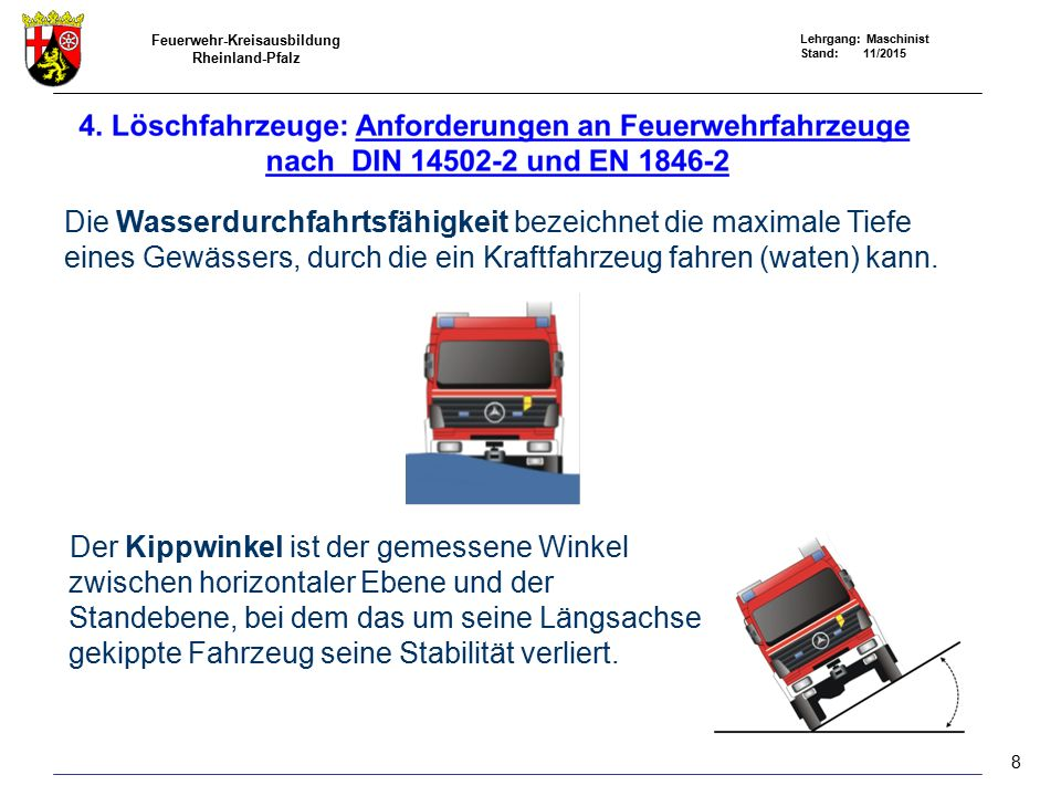 Feuerwehr-Kreisausbildung Rheinland-Pfalz Lehrgang: Maschinist Stand: 11/2015 Die Wasserdurchfahrtsfähigkeit bezeichnet die maximale Tiefe eines Gewässers, durch die ein Kraftfahrzeug fahren (waten) kann.