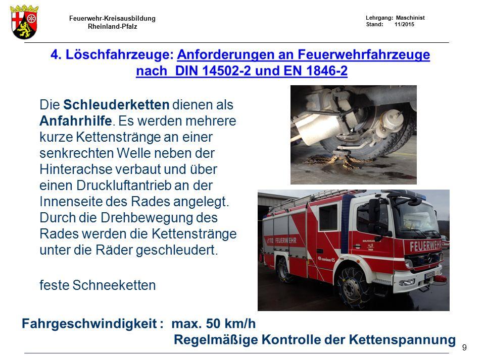 Feuerwehr-Kreisausbildung Rheinland-Pfalz Lehrgang: Maschinist Stand: 11/2015 Anfahrhilfe Die Schleuderketten dienen als Anfahrhilfe. Es werden mehrer