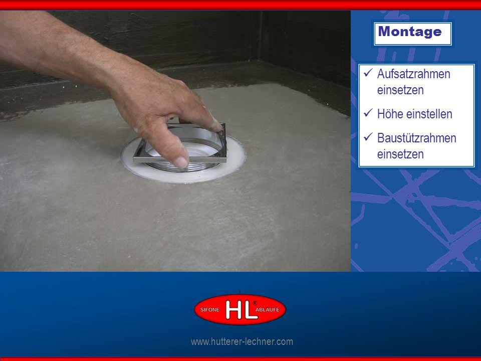 Montage Aufsatzrahmen einsetzen Höhe einstellen Baustützrahmen einsetzen www.hutterer-lechner.com ®