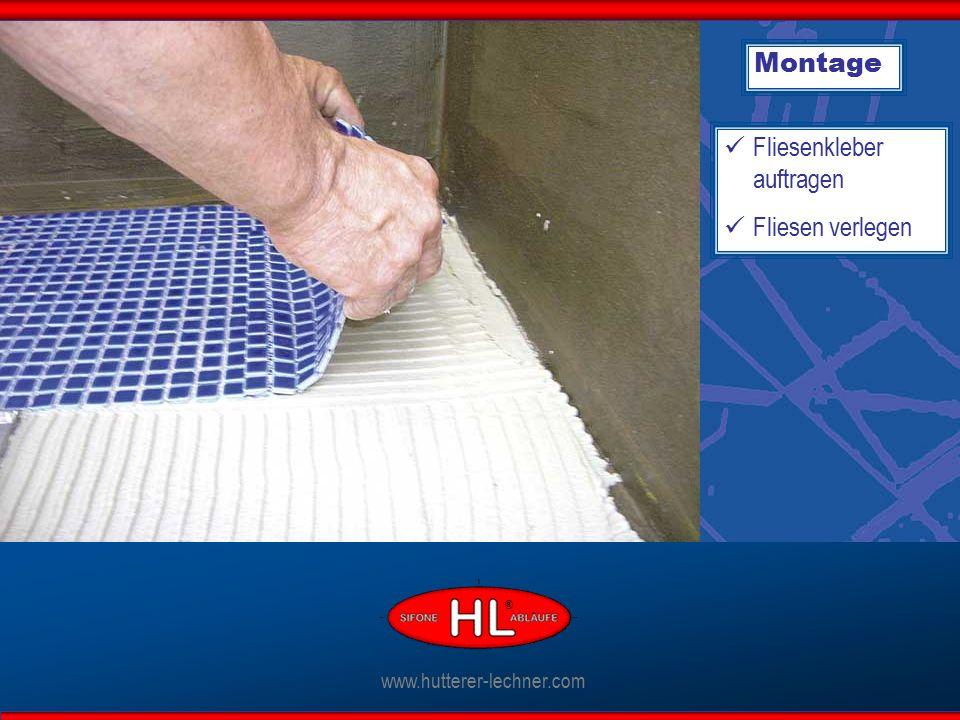 Montage Fliesenkleber auftragen Fliesen verlegen www.hutterer-lechner.com ®