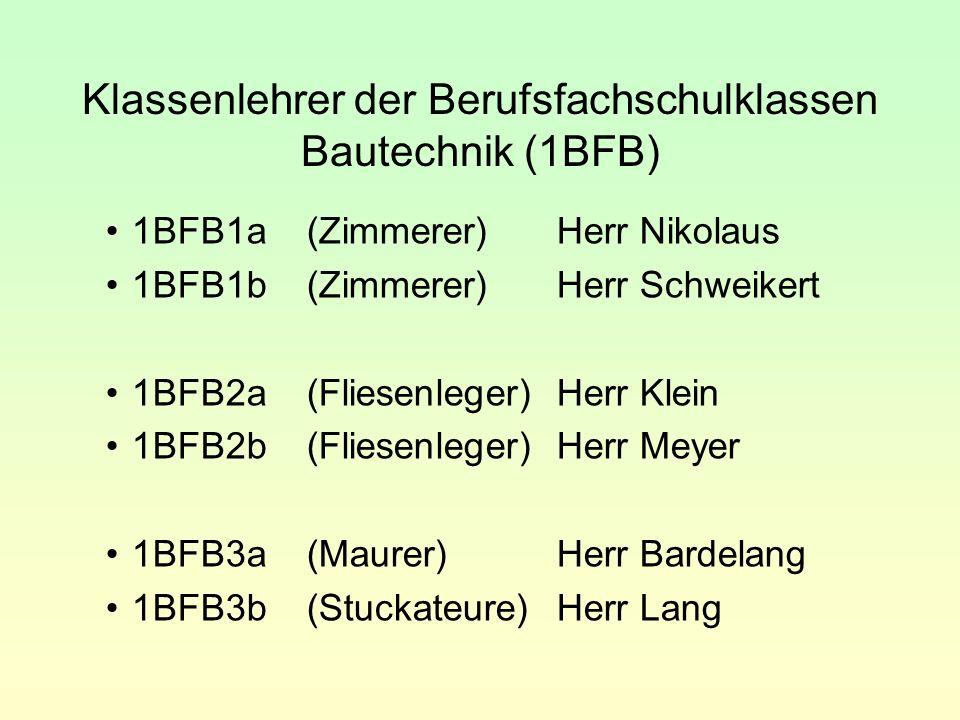 Klassenlehrer der Berufsfachschulklassen Bautechnik (1BFB) 1BFB1a(Zimmerer)Herr Nikolaus 1BFB1b(Zimmerer)Herr Schweikert 1BFB2a(Fliesenleger)Herr Klei