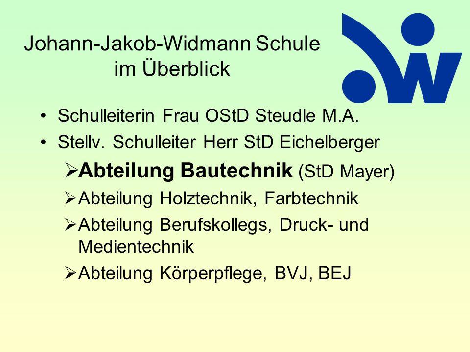 Johann-Jakob-Widmann Schule im Überblick Schulleiterin Frau OStD Steudle M.A. Stellv. Schulleiter Herr StD Eichelberger  Abteilung Bautechnik (StD Ma