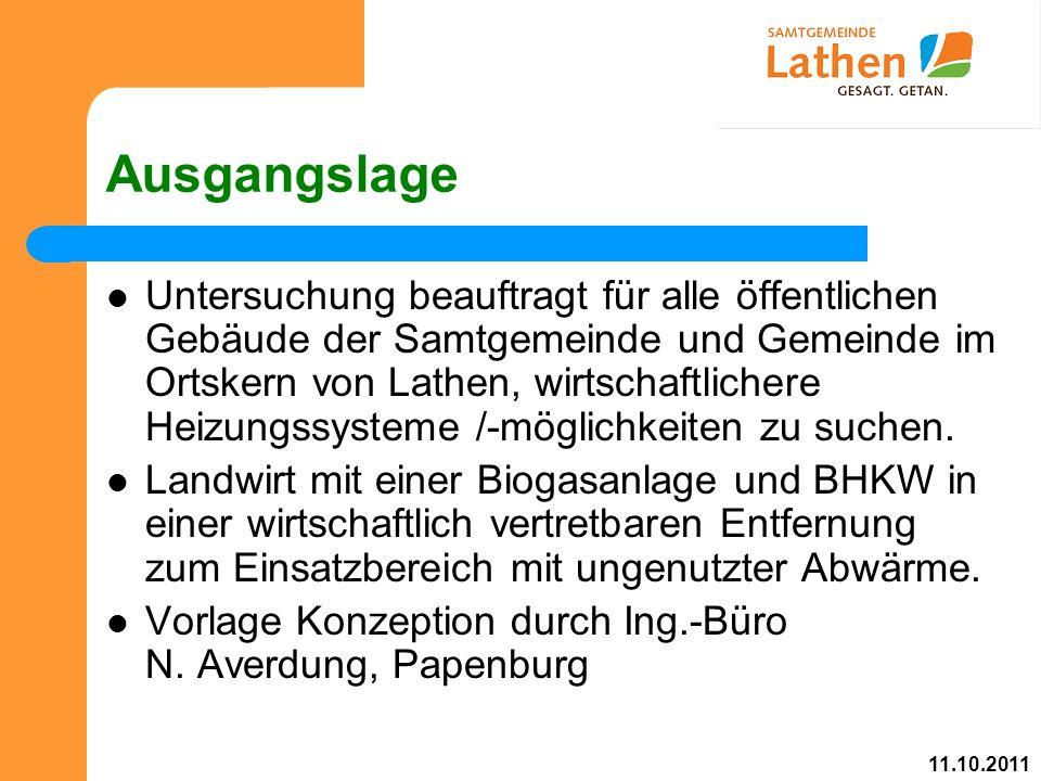 Ausgangslage Untersuchung beauftragt für alle öffentlichen Gebäude der Samtgemeinde und Gemeinde im Ortskern von Lathen, wirtschaftlichere Heizungssysteme /-möglichkeiten zu suchen.