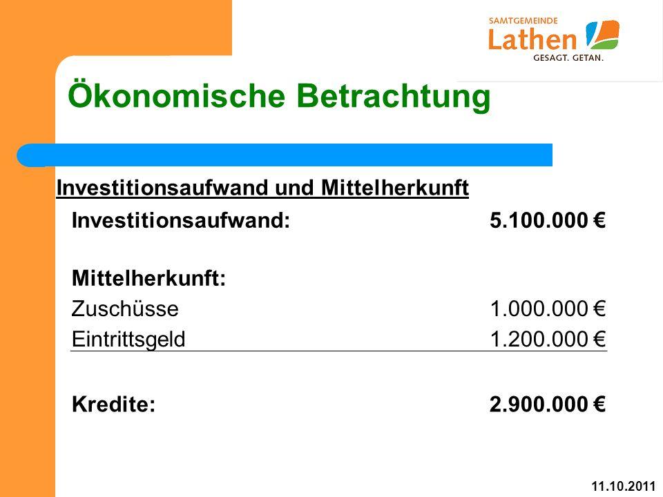 Ökonomische Betrachtung Investitionsaufwand und Mittelherkunft Investitionsaufwand:5.100.000 € Mittelherkunft: Zuschüsse1.000.000 € Eintrittsgeld1.200.000 € Kredite:2.900.000 € 11.10.2011