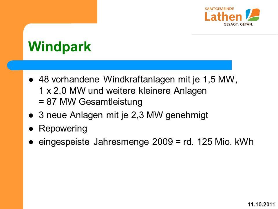 Windpark 48 vorhandene Windkraftanlagen mit je 1,5 MW, 1 x 2,0 MW und weitere kleinere Anlagen = 87 MW Gesamtleistung 3 neue Anlagen mit je 2,3 MW genehmigt Repowering eingespeiste Jahresmenge 2009 = rd.