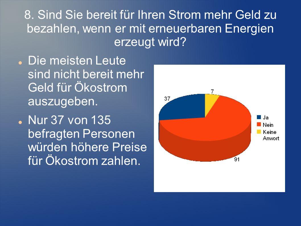 8. Sind Sie bereit für Ihren Strom mehr Geld zu bezahlen, wenn er mit erneuerbaren Energien erzeugt wird? Die meisten Leute sind nicht bereit mehr Gel
