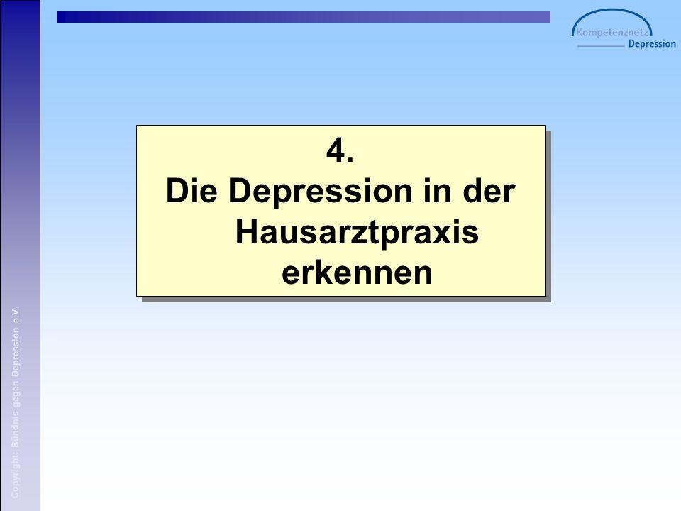 Copyright: Bündnis gegen Depression e.V. 4. Die Depression in der Hausarztpraxis erkennen 4.