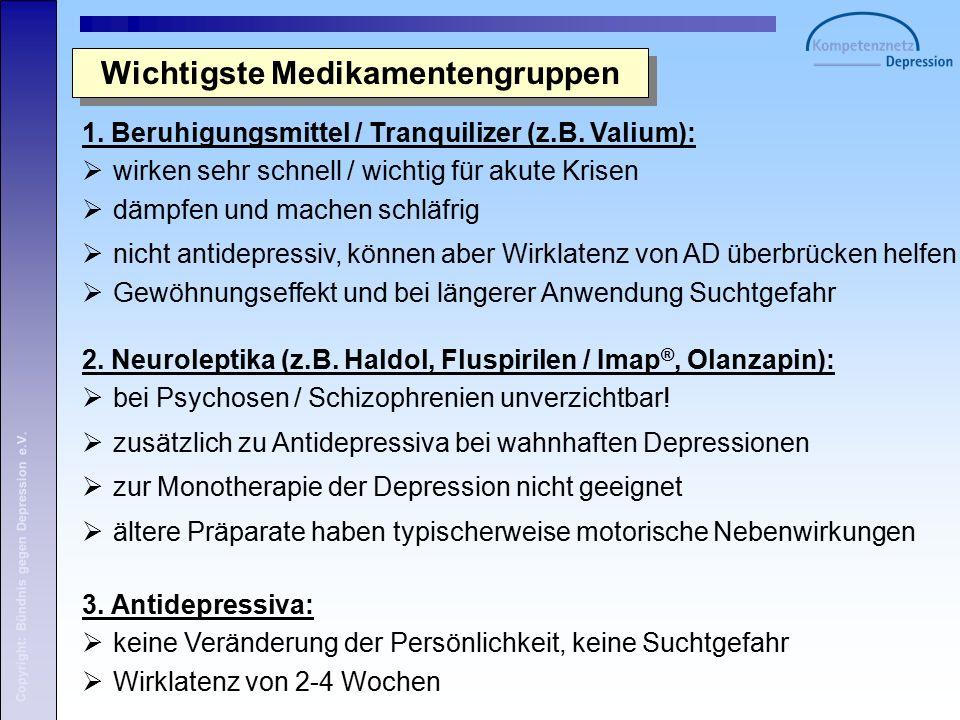 Copyright: Bündnis gegen Depression e.V. 1. Beruhigungsmittel / Tranquilizer (z.B.